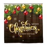 Wamika Merry Christmas Ball-Duschvorhang aus Kiefernholz mit 12 Haken 183,0 cm x 183,0 cm