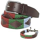 PELPE - Cinturón argentino de piel, con pulsera de hilo y cuero a juego. Cinturón bordado sobre cuero, para hombre y mujer. Cinturones argentinos Polo