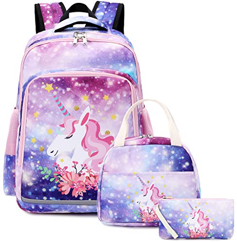 Backpack for School Girls Teens Bookbag Set Kids School Bag 15 inches Laptop Daypack (A-Colorful Star)
