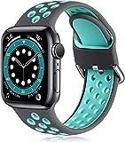 ANCEER Compatibile con Apple Watch 5 6, 42 mm, 40 mm, 38 mm, 44 mm, in morbido silicone, sportivo, cinturino di ricambio per IWatch Series6 SE 5 4 3 2 1 e Nessun metallo, colore: grigio/acquamarina