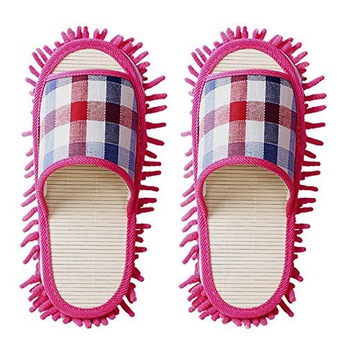 KCCCC Zapatillas de trapeador 2 Pares de Pisos Perezosos trapeadores Zapatillas de Invierno Zapatillas de baño de Invierno Zapatillas de Limpieza de Piso (Color : Pink, Size : Medium)