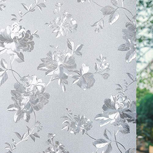 LMKJ Película para Ventanas de privacidad, patrón de Flores de peonía, película de Vidrio Esmerilado sin Pegamento, Pegatina de Ventana Anti-Ultravioleta, película electrostática