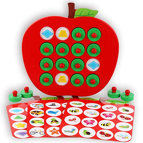 Humerry Wooden Memory Matching Game for Kids Apple Memory Match Board Game with 5 Pieces Double-Sided Cards Early Development Learning Toys for 3 Years Old and Up