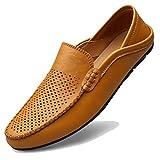 [MCICI] ローファー スリップオン ドライビングシューズ メンズ 本革 デッキシューズ 軽量 モカシン 靴 カジュアルシューズ 2種履き方 手作り 紳士靴 ビジネスシューズ ローカット職場用 スリッポン 大きなサイズ,イエロー,29.0CM