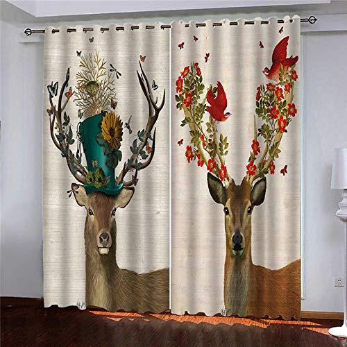 Cortina Opaca Two Deer Birds Flowers Salon Habitacion Opacas Aislantes Termicas Fruncidas con Anti-Ruido Monocromática Moderno para Salón Habitación Dormitorio 85 x 200 cm