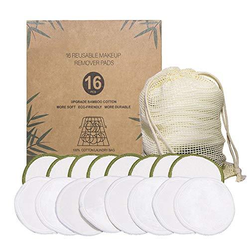 CVBN Almohadillas de algodón orgánico Reutilizables Desmaquillante Microfibra limpiadora Lavable, Verde y Blanco