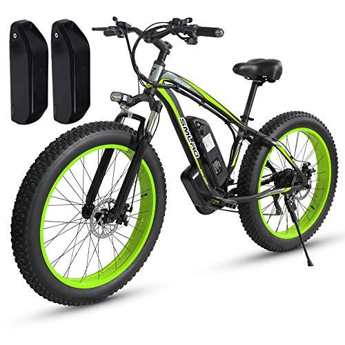 Shengmilo MX02, Elektrofahrrad, 1000 W Motor, 26 Zoll Fettes E-Bike, 48V 17AH Batterie (MX02 Grün (1000 W) + Ersatzbatterie)