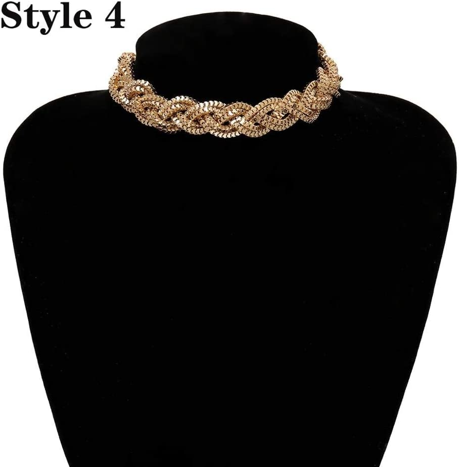 Moonnight Store Punk Miami Cuban Choker Necklace Collar Statement Hip Hop Big Chunky Aluminum Golden Thick Chain Necklace Women Jewelry (Golden 4)