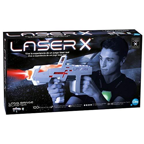 Laser X - Pistola Laser Singola, a Lungo Raggio, Colore Bianco e Grigio (Cife 98235)