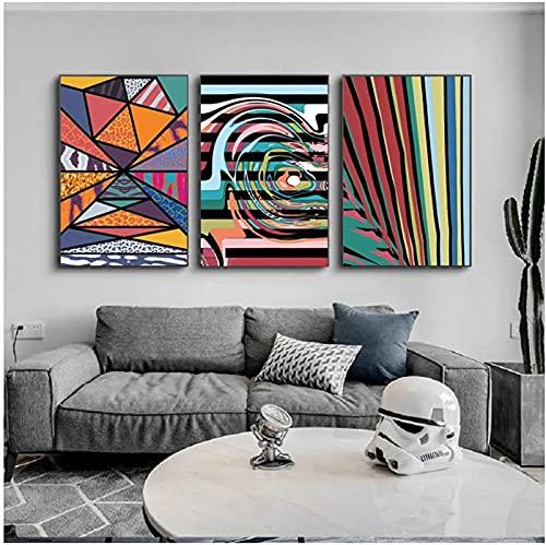XMYC Impresión sobre lienzo Geometría abstracta de colores carteles e impresiones Creatividad Fotos Sala Decoración del hogar 3 piezas 50 x 70 cm sin marco