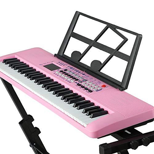 SMAA 61-Key Portable Keyboard, tragbare elektrische Orgel mit Notenständern, digitaler LCD-Anzeige, Teaching-Modi, für Anfänger, Spielzeug-Geschenk für Kinder Jungen-Mädchen,Rosa