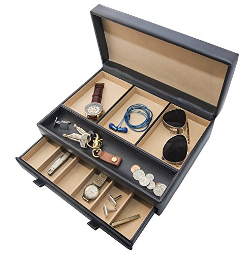 Stock Your Home Luxury Men's Dresser Valet Organizer for Watches, Jewelry & Accessories – Large Jewelry Holder & Display Case