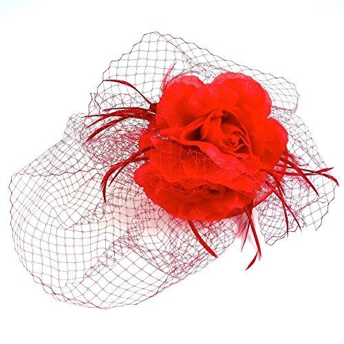 rougecaramel - Accessoires cheveux - Serre tête pour mariage et cérémonies avec voilette - rouge
