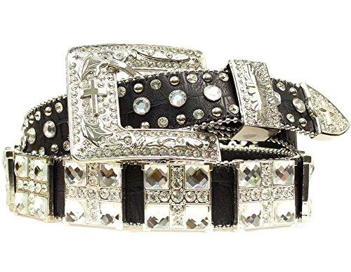 Blazin Roxx Women's Croc Print Square Crystals Belt, Black, L