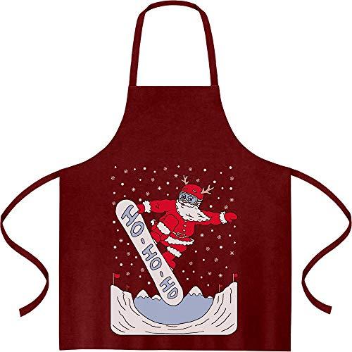 Shirtgeil Xmas schort Santa On A HO HO snowboard kookschort, barbecueschort, schort Eén maat bordeaux