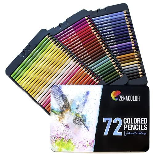 72 Matite Colorate (Numerato) con Scatola in Metallo da Zenacolor - 72 Colori Unici per Disegnare e Libri da Colorare Adulti - Facile Accesso con 3 Vassoi - Regalo Ideale per Artisti e Adulti