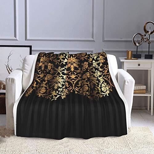 KCOUU Couverture polaire 127 × 152 cm Doré/noir damassé et rayures - Couverture décorative pour canapé, lit, canapé, voyage, maison, bureau, toutes saisons