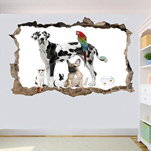 FHSFFS Pegatinas de pared Tienda de mascotas Perro Gato Gato Pájaro Etiqueta de la pared Etiqueta mural 3D Sala de arte Decoración de oficina