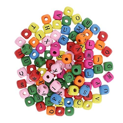 Nobranded 100x Madera Alfabeto Letra Cubo Abalorios Encantos Joyas Fornituras 10mm - Blanco - Multicolor