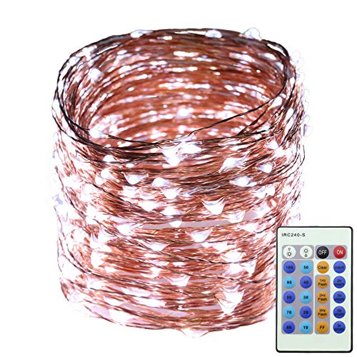 Erchen LED String Lights, 165 FT 50M 500 LED Plug in Dimmable Copper Wire Fairy Lights with 12V DC Power Adapter Remote Control for Wedding Christmas Party Bedroom (White)