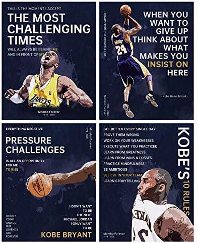 Kobe Quotes Poster 4 Sets Kobe Memorial Motivational Print Mamba Mentality Canvas Wall Art 4 product image