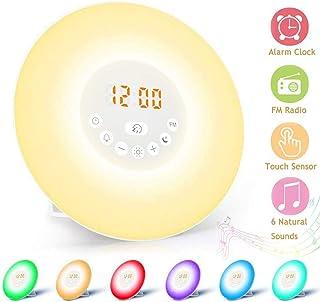 Wake Up Light, Massway Luces-despertador con Simulación de Amanecer Función de Ayuda para Dormir, Despertador Luz con Radio FM Función Snooze 6 Sonidos Naturales 7 Colores 10 Niveles de Brillo