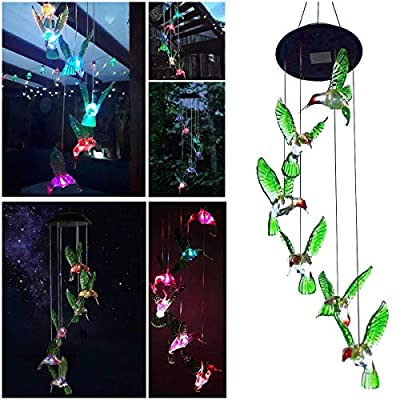 Sunjoyco Hummingbird Solar Wind Chimes, Color-Changing Outdoor Waterproof LED Wind Chime Solar Powered Colorful Light for Home/Party/Yard/Garden Decoration