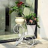 Soporte para plantas Soporte de flores de hierro forjado europeo Sala de estar de múltiples capas Balcón de pie Suculentas Bold Thicken Bearing Blanco fuerte, Negro Estante de flores de vari
