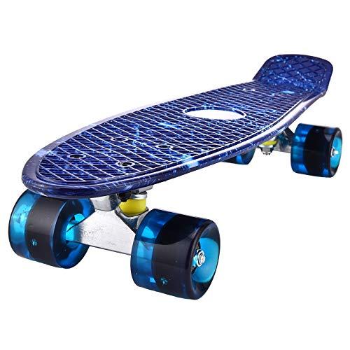 Mini Cruiser Skateboard Retro Komplettboard, 56cm Vintage Skate Board mit Kunststoff Deck und blinkenden LED-rollen, Cruiser-Board mit LED Leuchtrollen für Erwachsene Kinder Jungen (Starry Blue)