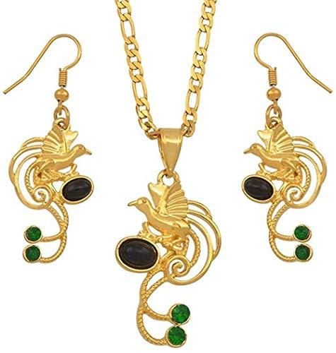 LLJHXZC Collar Papua Nueva Guinea Perla Negra Y Piedra Verde Pájaro Colgante Collar Pendientes Conjuntos Joyería Étnica Regalos De Fiesta Longitud 60 Cm por 3 Mm Collar Collar