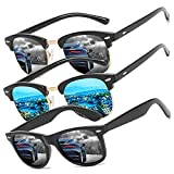 Perfectmiaoxuan Pack de 3 Gafas de Sol Hombre Mujer Polarizadas CAT 3 CE UV400 Gafas retro clásicas Conducción Correr Ciclismo Pesca Golf Verano Turismo Gafas de sol (3 pack(black/blue/black))