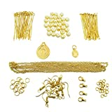 TOAOB 253 kits de creación de joyas para principiantes, hechos a mano, collar, pulsera, pendientes dorado