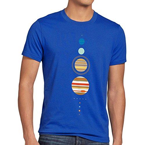 CottonCloud Sheldon Sonnensystem Herren T-Shirt Big Bang Cooper Theory, Größe:XXL, Farbe:Blau