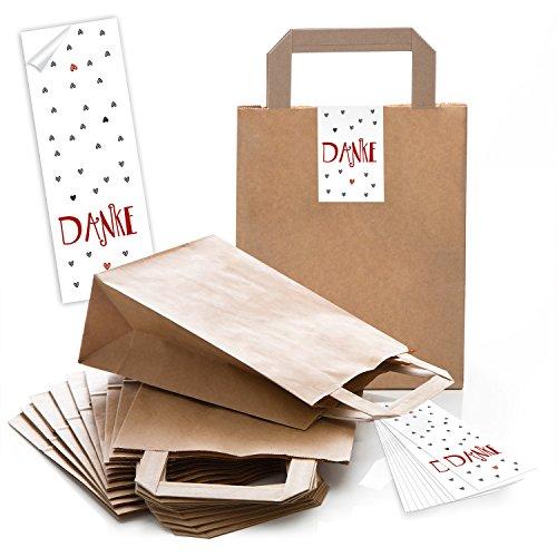Logbuch-Verlag 10 DANKE Geschenktüten kleine Tragetaschen Papier Dankeschön Geschenkbeutel Weihnachten Kunden Verpackung Geschenke mit Henkel Kraftpapier