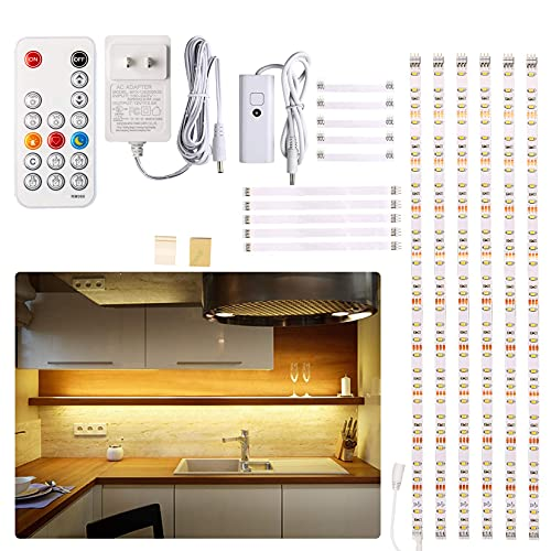 Under Cabinet LED Lighting kit, 6 PCS LED Strip Lights with Remote Control Dimmer and Adapter, Dimmable for Kitchen Cabinet,Counter,Shelf,TV Back,Showcase 2700K Warm White,Bright 1500lm,Timing