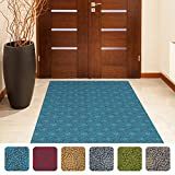 """Shape28 Hallway Mat Ultra-Thin Kitchen Runner Rug with Non Slip Rubber Backing 72x36"""", Blue"""