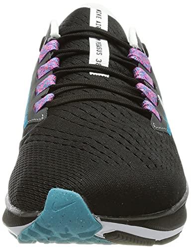 Nike Air Zoom Pegasus 38, Zapatillas para Correr Hombre, Black Mtlc Silver White Chlorine Blue Anthracite Flash Crimson, 42 EU