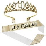 PIXNOR 10 ° Cumpleaños Corona Y Marco Set Tiara de Diamantes de Imitación Peine Oro Fabuloso Marco Niñas Cumpleaños Tocado Fiesta Fotografía Accesorios