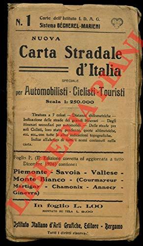 Piemonte, Savoia, Vallese, Monte Bianco (Courmayeur, Chamonix, Annecy). Nuova carta stradale speciale per automobilisti, ciclisti, turisti. Foglio n. 1