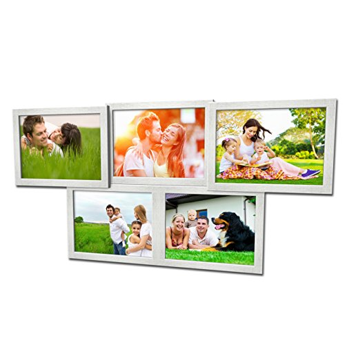 Artepoint Fotogalerie für 5 Fotos 13x18 cm - 3D 502 Optik - Bilderrahmen Bildergalerie Fotocollage Rahmenfarbe Silber gebürstet