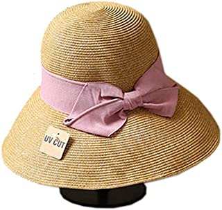 Hat Straw hat Adjustable Women's Summer Straw Hat Brown Panama Sun Hat Sun hat Panama hat (Color : Brown, Size : 56-58cm) (Color : Brown, Size : 56-58cm)