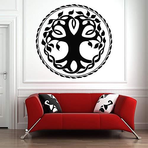 wZUN Baum des Lebens Wandtattoo Celtic Tribe Life Circle Wurzel Wandkunst Schlafzimmer Wohnzimmer Home Decoration Wandbild 85x85cm
