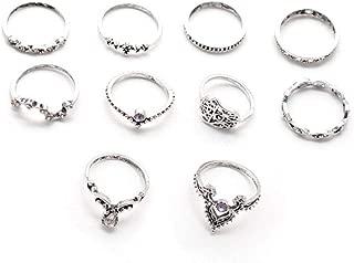 10 Pcs Vintage Women Mid Ring Set Bohemian Crown Rhinestone Joint Knuckle Nail Midi Ring Set