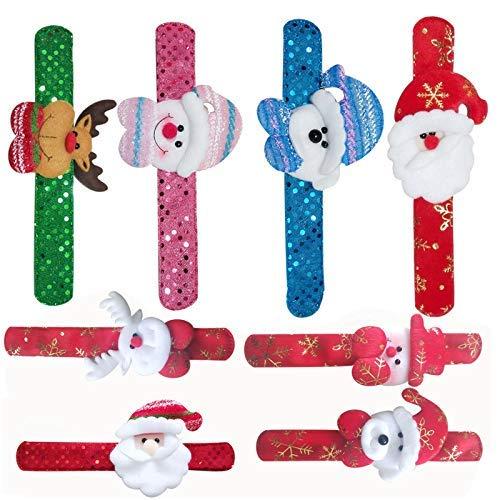 8 pulseras de Navidad para fiestas de Navidad, Papá Noel, muñeco de nieve y reno para niños