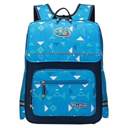 willikiva Children School Backpack for Kids Boys Girls Bookbags Students Bags with YKK Zipper Ridge Protection (Blue Geometry)