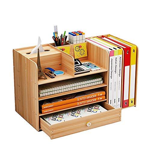 Organizador de archivos de madera, escritorio multifuncional organizador A4, caja de almacenamiento cajón, soporte para bolígrafos, para suministros de oficina en el hogar, color Madera de cerezo.