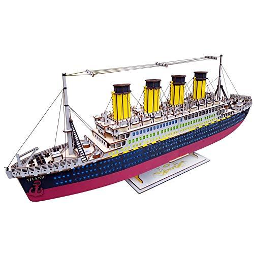 RHSML Puzzles 3D Titanic Juguetes Modelo Nave, difíciles de Madera Regalos de Puzzles y Rompecabezas Barco de cruceros Familiares decoración del hogar, 371 Piezas
