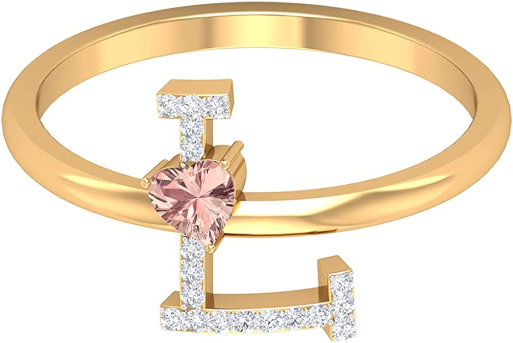 Popular brand 1 4 CT Diamond Initial L Created Morganite Selling rankings Solit Ring with Heart