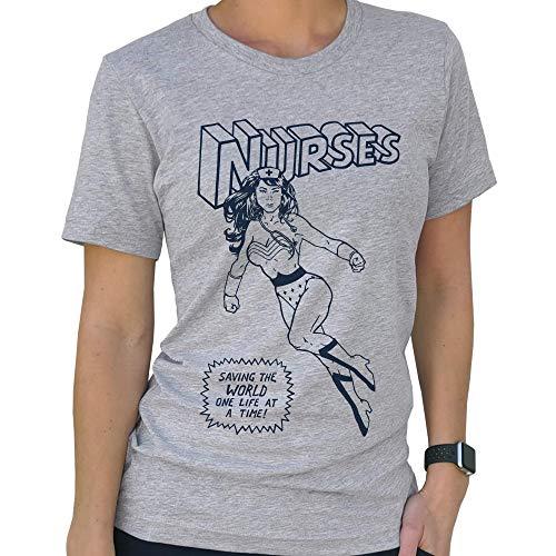 SCOBAR Nurse Superhero T-Shirt (Grey, X-Large)