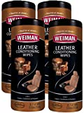 Weiman Leather Wipes - 4 Pack - Clean Condition Ultra Violet Protection Help Prevent Cracking or Fading of Leather Couches, Car Seats and Interior, Shoes and Other Leather Surfaces